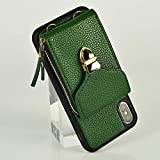 iPhone Xs Max Wallet Case, JLFCH iPhone Xs Max Crossbody Case with Zipper Card Slot Holder Chain Handbag Purse Wrist Strap for Apple iPhone Xs Max 6.5 inch - Dark Green