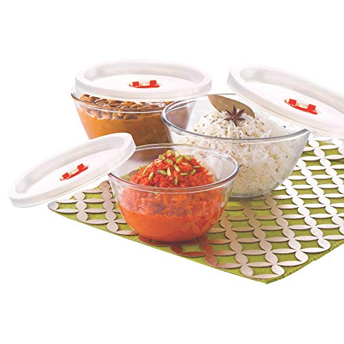 Borosil Glass Mixing Bowl with lid – Set of 3 (500 ML + 900 ML + 1.3L) Oven and Microwave Safe Price & Reviews