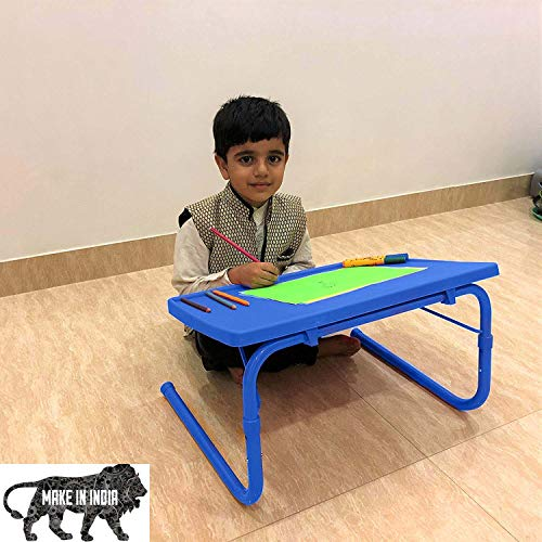 Bi3 Table Adjustable Portable Multipurpose Laptop Table, Bed Table, Study Table, Kids Table (Blue)