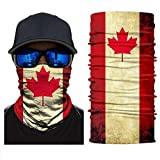 Magic Scarf Tube Mask Sport Scarf UV Protection Canada Flag Face Sun Mask, Neck Gaiter, Headwear Headband Sweatband Face Shield Mask for Men Women Hunting Fishing