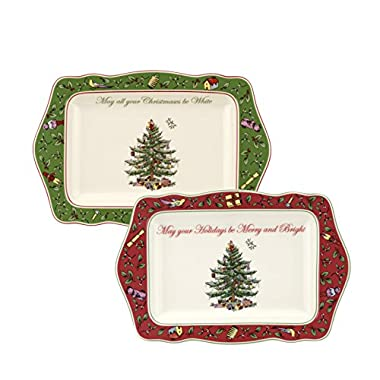 Spode Christmas Tree Vintage Sentiment Trays, Set of 2