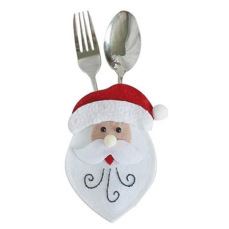 Wa Linda Navidad Santa en Forma de Cortar y Tenedor Cubre Cocina Cubiertos de