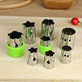 Einfach Stainless Steel Vegetable Cutter Shapes Set (8 Piece)-Mini Cookie Cutters, Vegetable Fruit Shape Cutters for Kids