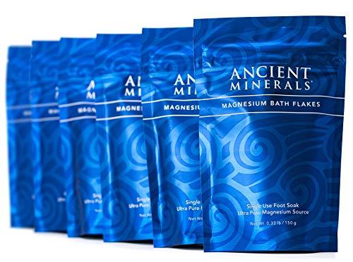 Ancient Minerals Magnesium Bath Flakes Single-Use Magnesium Chloride Pouches (0.33lb Bag, Pack of 6) (Epsom Salt Vs Dead Sea Salt Bath)