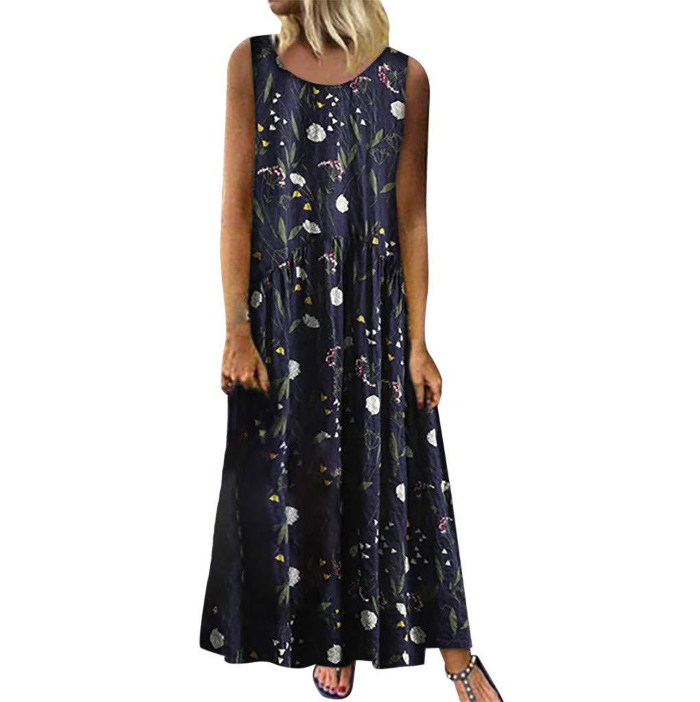 TOTOD Maxi Dress for Women, Plus Size Bohemian O-Neck Floral Print Vintage Sleeveless Long Dresses Navy