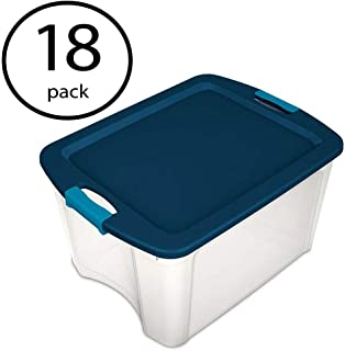 product image for Sterilite 18 Gallon Plastic Portable Storage Container Tote Box with Latching Lid (18 Pack)