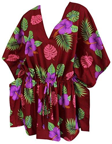 La Leela 1 Wohnzimmer Abnutzung Papagei Weich Likre Hawaii Aloha Kurzen  Kleid Badeanzug Tunika Zugband Caribbean