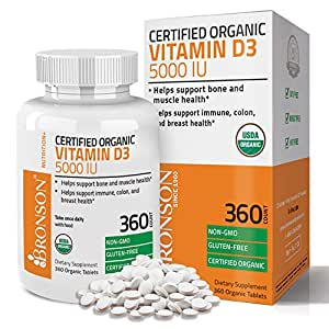 Bronson Vitamin D3 5000 IU Certified Organic Vitamin D Supplement, Non-GMO, USDA Certified, 360 Tablets