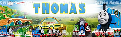 Personalized Thomas the Tank Engine Banner Birthday Poster Custom Name Painting Wall Art (Thomas Tank Engine Pictures)