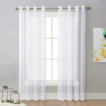Amazon.com: NICETOWN Sheer Window Curtain Panels - Solid White