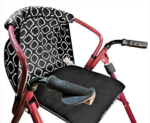 Rollator Walker Seat Cushion and Backrest Cover In Geometric Pattern Cotton Canvas (Backrest Pattern)