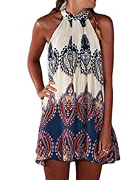 Yacun Women's Halter Floral Sleeveless Swing Dress