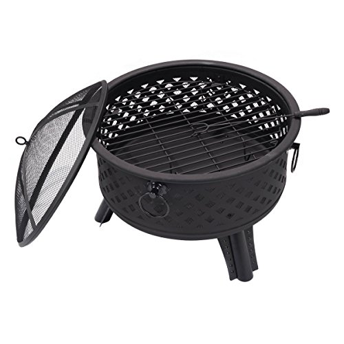 Giantex 26'' Metal Round Firepit Patio Garden Stove Fire Pit Outdoor Brazier With Poker(26'' Round) by Giantex