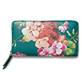 Gucci Shanghai St Teal Green Blossoms Floral Leather Zip Around Wallet Box New