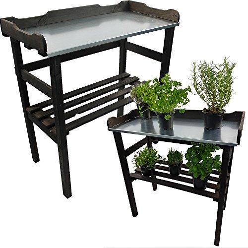 Pflanztisch / Gartentisch 82 x 78 x 38 cm FSC® zertifiziertes Holz in Anthrazit imprägniert verzinkte Arbeitsfläche
