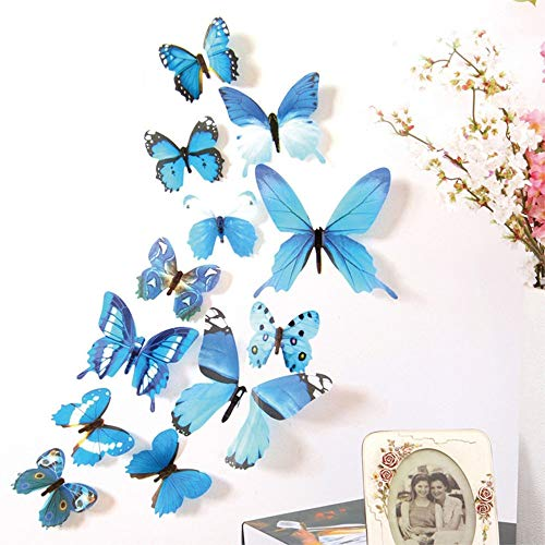 Trubetter 24 PCS Blue 3D Butterfly Removable Mural Stickers Wall Stickers Decal Wall Decor for Home and Room Decoration