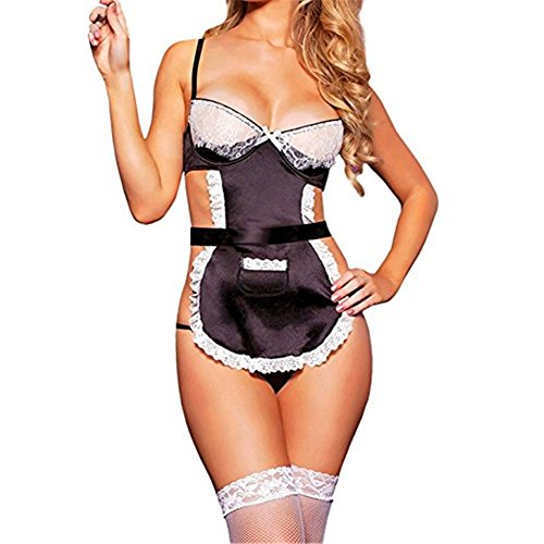 YeeHoo Womens Halter Lace Babydoll Naughty Maid Uniform Sexy Lingerie
