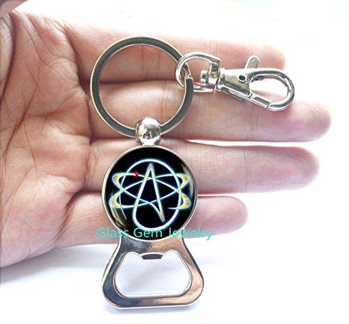 - Atheist Symbol Bottle Opener Keychain, Atom Bottle Opener, Atheist jewelry, No Religion Bottle Opener Keychain, mens Cufflinks,Q0032