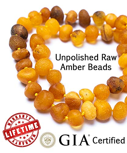 RAW Baltic Amber Teething Necklace for Babies - UNPOLISHED Organic Raw Amber Beads - Baby Teething Necklace For Boys And Girls - Anti Inflammatory Drooling And Baby Teething Relief - GIA Certified ()