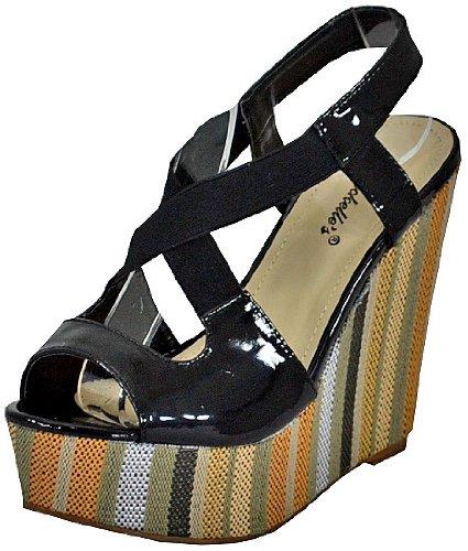Breckelles femme Haley - 03 Noir-Wedge Sandals