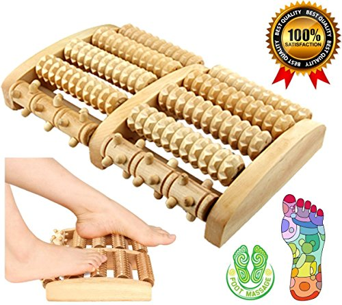 SPJ: Reflexology Acupressure Stress Relief Oriental 5 Wooden Foot Massage Roller Blood Circulation Promotion Plantar Fasciitis Care (10.7 X 6.5 X 1.8 inches)