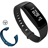 K-berho Fitness Tracker HR, Fitness Bracelet Watch With Heart Rate Monitor, Waterproof Activity Tracker Pedometer, Wireless Bluetooth Smart Bracelet With Replacement Strap for Android & IOS