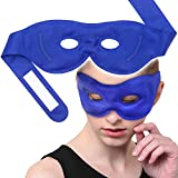 Sleeping Ice Gel Eye Mask Hot Cold Compress for Bedtime/Travel, Heat Freeze Therapy, Perfect for Soft Insomnia, Fatigued Puffiness, Blepharitis, Tired Eyes, Minor Headache/Fever - Blue