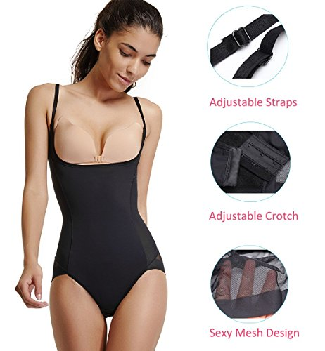 5ab88fe60 Shapewear Joyshaper Bodysuit Shapewear for Women Full Body Shaper Open Bust  Thigh Slimmer Slimming Tummy Control Seamless ...