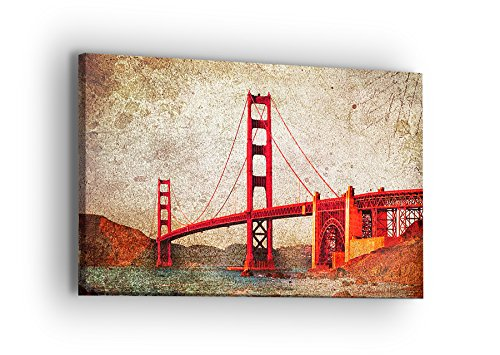 United Streets of Art Golden Gate Bridge Canvas Wall Art - Professional Quality Print Gallery Wrap Modern Home Decor - Ready to Hang - Made in USA