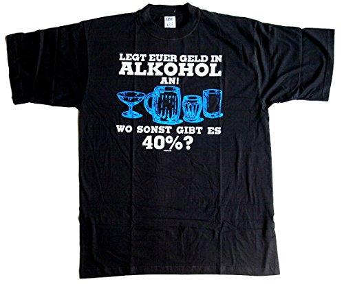 T-Shirt Legt euer Geld in Alkohol an schwarz Baumwolle Siebdruck Original Funshirt aus den 1990er Jahren erhältlich in den Größen M und XL