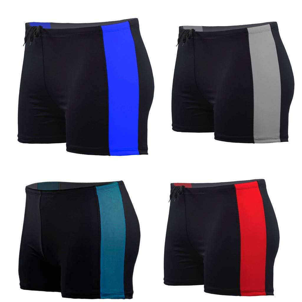 Yutao Mens Swim Trunks Square Leg Swimming Boxer Briefs Beach Shorts Swimsuits Red