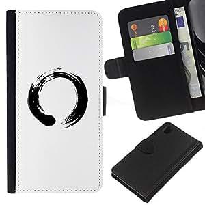 LECELL--Cuero de la tarjeta la carpeta del tirón Smartphone Slots Protección Holder For Sony Xperia Z1 L39 -- Símbolo chino del Círculo --