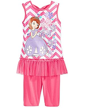 Toddler Girls 2-Piece Princess Sofia Tank & Short Pink Chevron Set