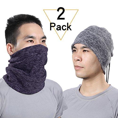 JIUSY Soft Fleece Neck Gaiter Warmer Gear Face Mask Cover wi