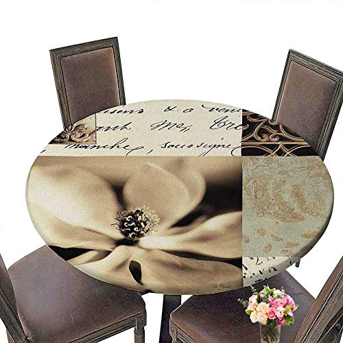 (PINAFORE Luxury Round Table Cloth for Home use Flaxen Silhouette by Aparicio for Buffet Table, Holiday Dinner 55