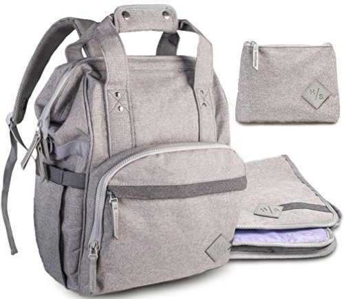 Large Diaper Bag Backpack Plus Waterproof Cosmetic Purse and Changing Pad by HealthySam - Multi-Use with 5 Insulated Bottle Pockets, Wet Wipes Pocket, Side Detachable Stroller Straps - Padded - Gray