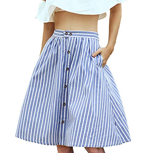 kefirlily Women's Striped Button Split Front Elastic Back High Waist A-Line Midi Skirt with Pocket Blue M