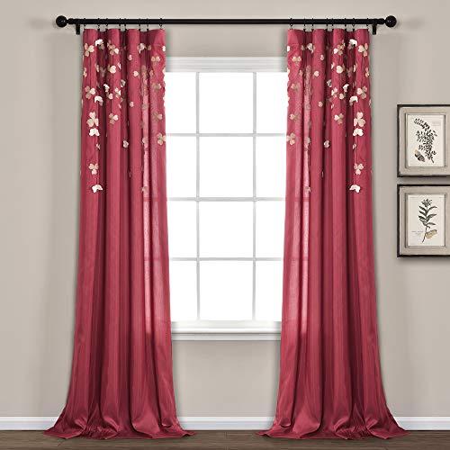 Lush Decor Flower Drops Curtain Panel for Living Room, Bedroom, Dining Room (Single), 84