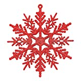 Cyhulu Glitter Christmas Snowflake Ornaments(Pack of 6Pcs), Hot Xmas Tree Snowflake Craft Party Home Hanging Decoration (Red, One size)