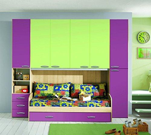Kinderzimmer A Bridge Raspberry und Grün mit Doppel Bett