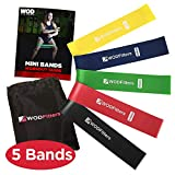 "WODFitters Mini Bands Set - 5 Exercise Workout Resistance Bands - Choose 10"" or 12"" Exercise Loops - Workout Flexbands for Stretching, Physical Therapy, Rehab, Home Fitness and Muscle Activation (12"")"