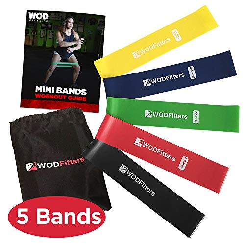 WODFitters Mini Bands Set - 5 Exercise Workout Resistance Bands - Choose 10 or 12 Exercise Loops - Workout Flexbands for Stretching, Physical Therapy, Rehab, Home Fitness and Muscle Activation (12)