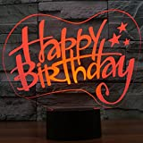 3D Illusion Lamp Gawell Happy Birthday Effect Night Light 7 Colors with Touch Switch USB Cable Nice Gift Home Office Decorations