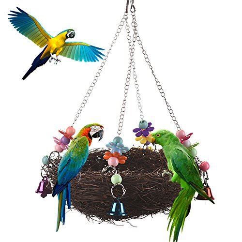 Natural Rattan Nest Bird Swing with Bells for Parrot Budgie Parakeet Cockatiel Conure Lovebird Cockatoo Macaw Amazon African Grey Cage Perch Toy (Swings Rattan)