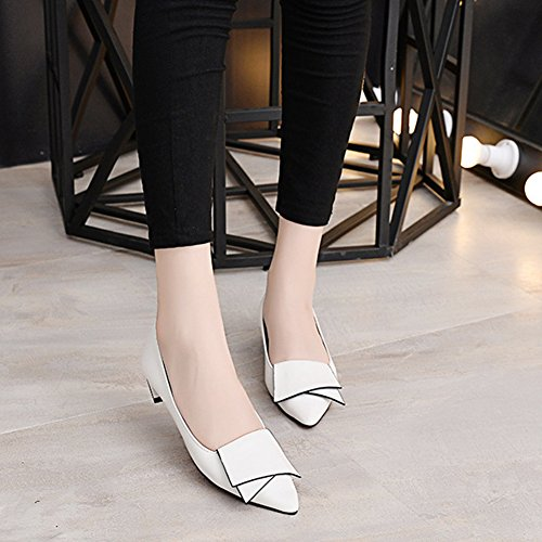 Btrada Womens Sexy Flat Dress Shoes Fashion Loafers Penny Shoes Pointed Toe Boat Shoes Slip On Work Shoes White 7C24aMvSl