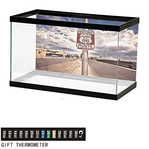 bybyhome Fish Tank Backdrop Americana,Route 66 Roadway Sign,Aquarium Background,24