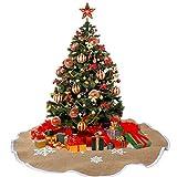 Aytai Christmas Tree Skirt 48 inches Xmas Burlap Tree Skirt White Snowflake Printed Christmas Decorations Indoor Outdoor