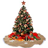 AerWo Snowflake Tree Skirt Rustic Burlap Christmas Skirts Xmas Decoration Party Supplies 25