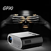 Skyzonal GP90 3200lumens 3000:1 Surport 1080P HD Mini LED Projector With HDMI AV USB VGA Home Theater Projector (Black)
