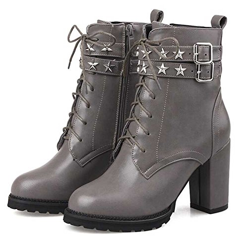 CHFSO Womens Trendy Star Solid Round Toe Belt Buckle Lace Up High Chunky Heel Ankle Boots Gray tg69vi
